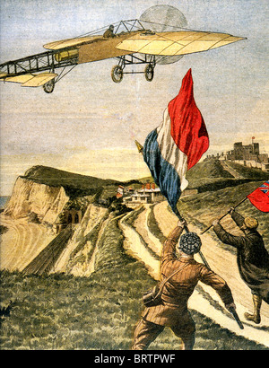LOUIS BLERIOT (1872-1936) flies his XI across the Cliffs of Dover after the first cross-channel flight, 25 July - Stock Image