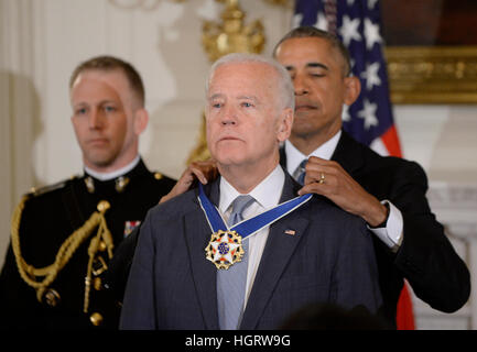 Washington DC, USA. 12th Jan, 2017. United States President Barack Obama presents the Medal of Freedom to US Vice - Stock Image