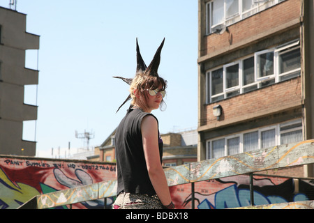 A punk girl 'Rae Ray Riots' with a large Mohican, Shoreditch, London, UK .2009 - Stock Image