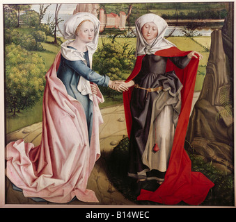 fine arts, religious art, painting, Virgin Mary, Visitation of Elizabeth, painting, Master of the Visitation of - Stock Image
