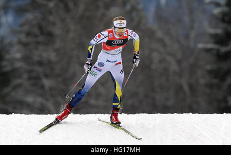Oberstdorf, Germany. 04th Jan, 2017. First-place winner Stina Nilsson of Sweden skis in the women's pursuit - Stock Image