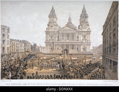 Funeral of the Duke of Wellington, St Paul's Cathedral, City of London, 18 November, 1852. Artist: Day & Son - Stock Image