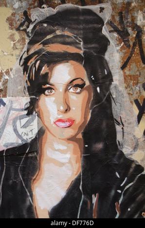 Spain,Barcelona,Graffiti in Gracia town - Stock Image