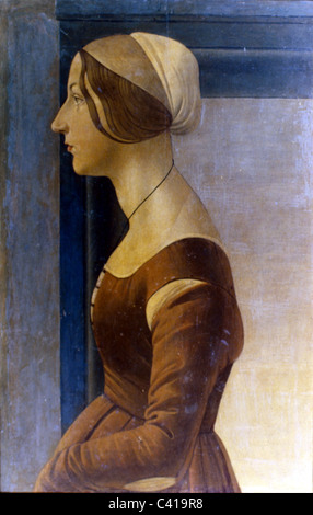 Kunst, Botticelli, Sandro (1444/1445 - 1510), painting, 'Portrait of a Young Woman', oil on panel, circa - Stock Image