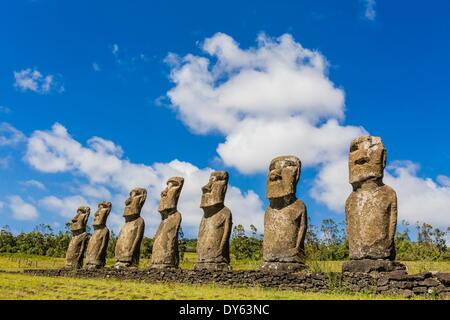 Seven Moai at Ahu Akivi, the first restored altar on Easter Island (Isla de Pascua) (Rapa Nui), UNESCO Site, Chile - Stock Image