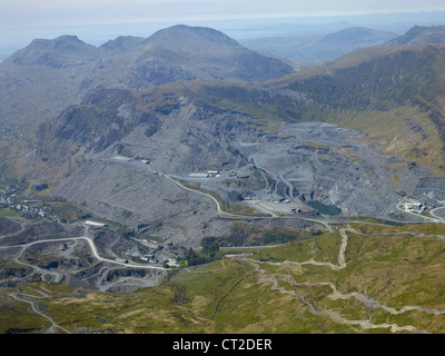 Slate Quarry, Blaenau Festiniog, North Wales, UK, shot from the air - Stock Image