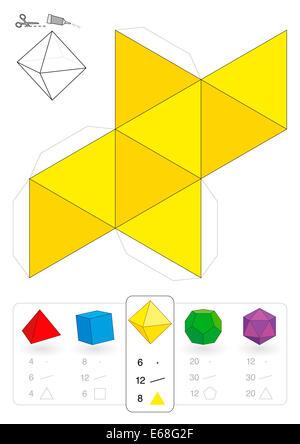 Maquette en papier d'un octaèdre, l'un des cinq solides platoniques, pour faire un métier tridimensionnel, sortez - Image