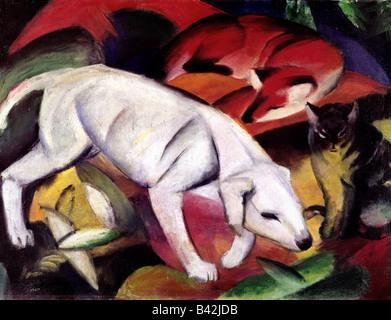 fine arts, Marc, Franz, 8.2.1880 - 4.3.1916, painting, 'Dog, fox and cat', (Hund, Fuchs und Katze), 1912, - Stock Image