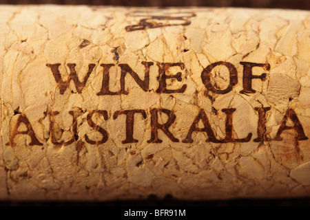 Wine of Australia wine cork stopper - Stock Image