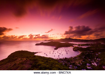 View of English Harbour at sunset from Shirley Heights, Antigua, Leeward Islands, Caribbean. - Stock Image
