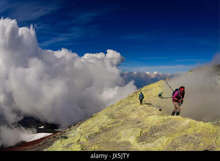 Kamchatka Territory, Russia. 12th Aug, 2017. Tourists at the crater of Avachinsky active stratovolcano. Credit: Yuri Smityuk/TASS/Alamy Live News - Stock Image