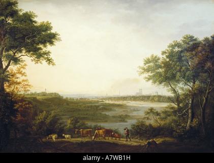 fine arts, Dorner, Johann Jakob, the Elder (1766 - 1813), 'Ansicht von München', painting, 1806, oil - Stock Image