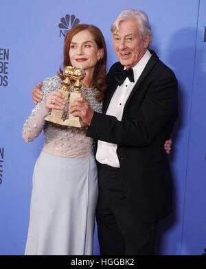 Los Angeles, USA. 08th Jan, 2017. Isabelle Huppert, Paul Verhoeven 332 Press room at the 74th Annual Golden Globe - Stock Image