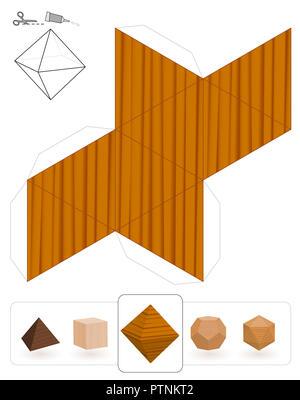Solides platoniques. Peignez un octaèdre avec trois textures pour créer un modèle en papier 3D à partir de la grille en triangle. - image d'archive