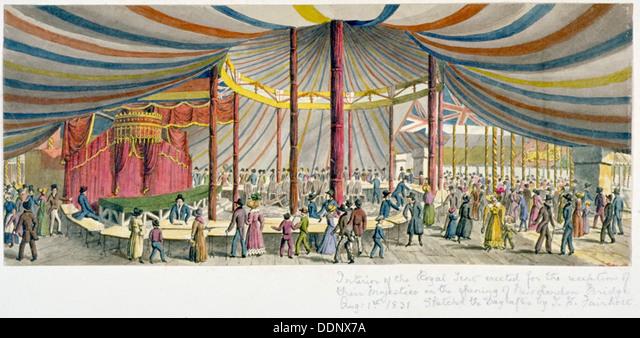 Royal opening of London Bridge, 1831. Artist: JH Fairholt - Stock Image