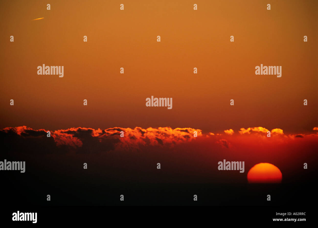 France provence from canaille cape a colorful red sky and the sun corona at sunset Stock Photo