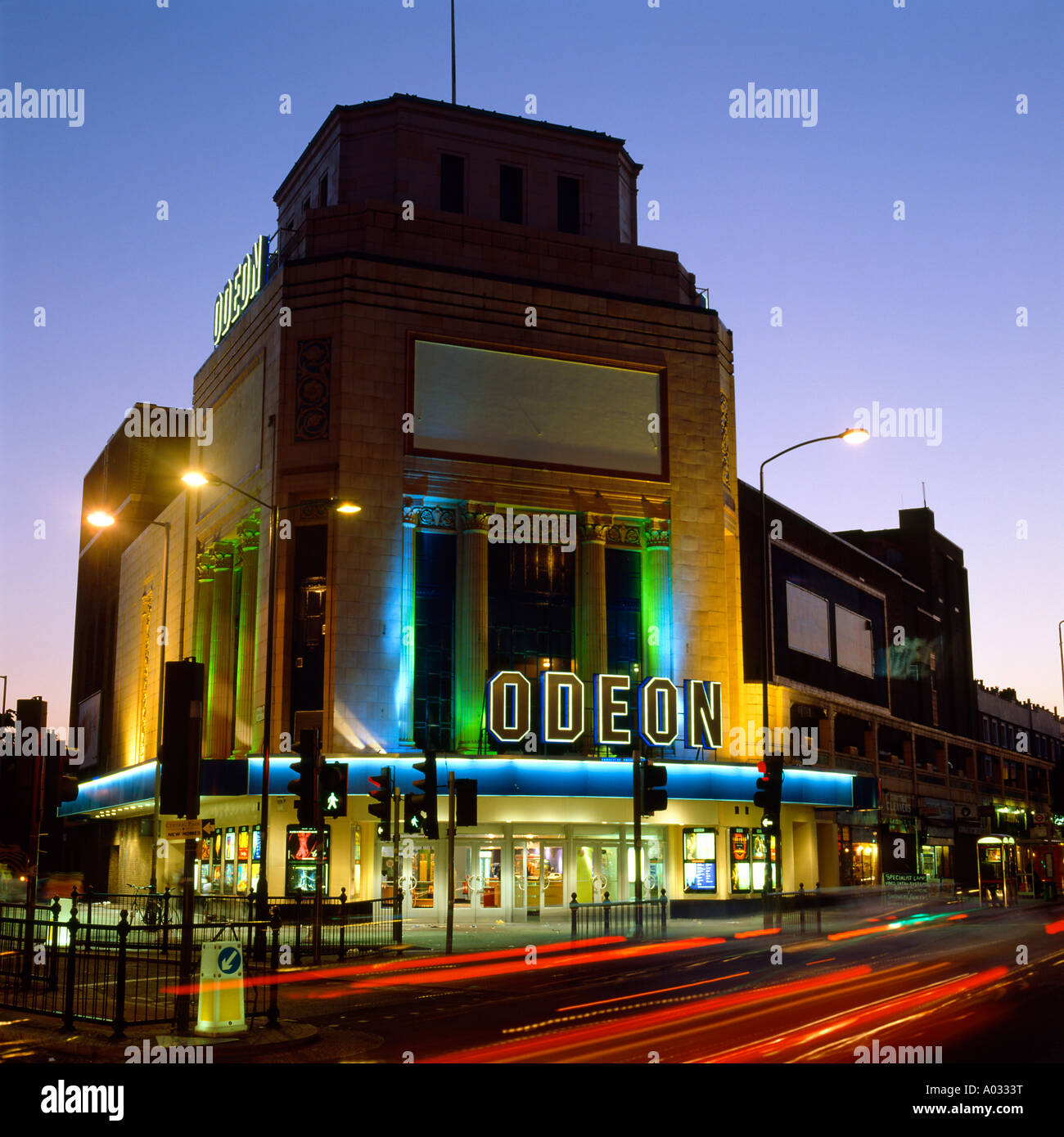 The Odeon Cinema Illuminated at Night, Holloway Road, London. - Stock Image