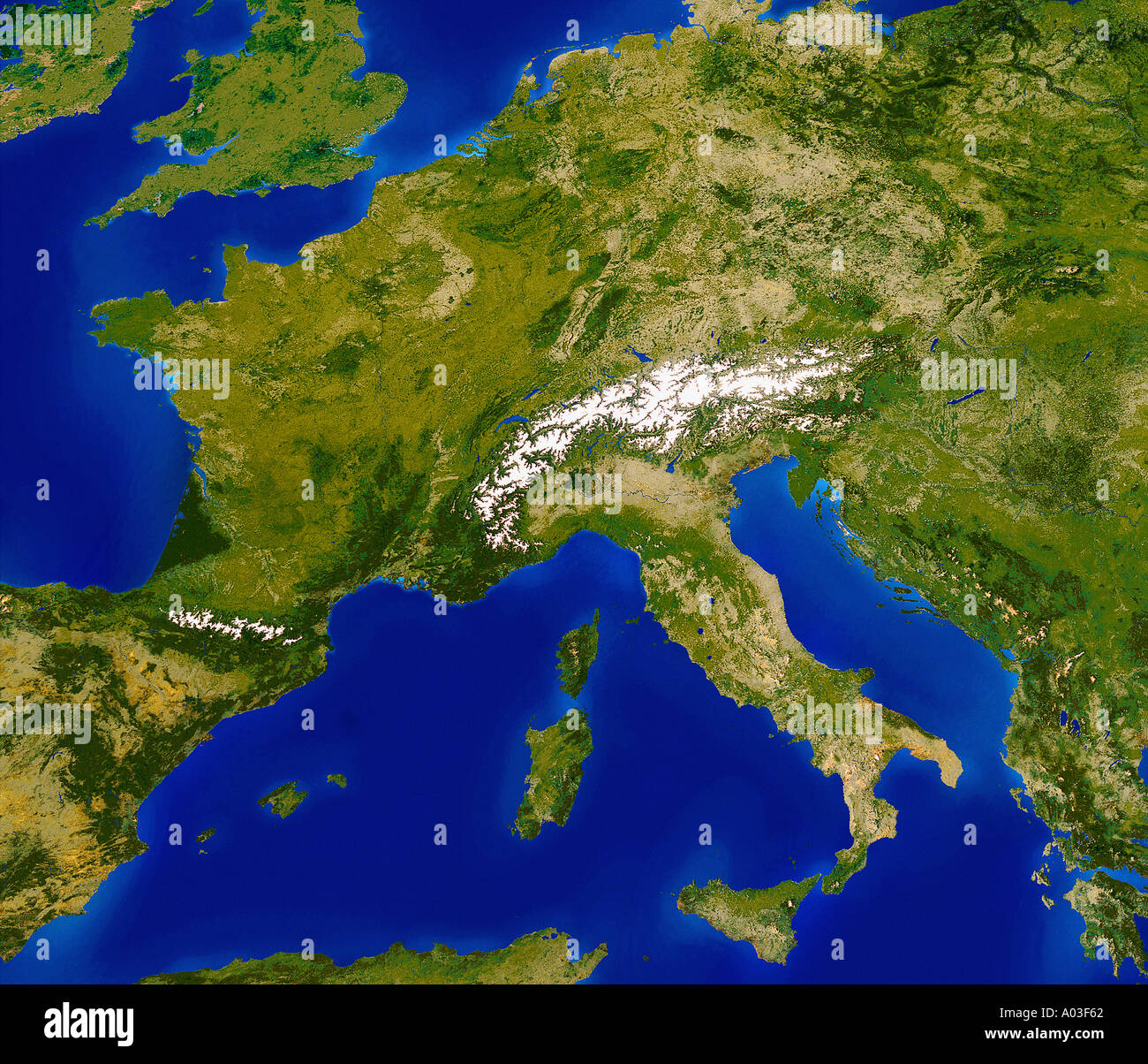 europe photographed from space from space by satellite - Stock Image
