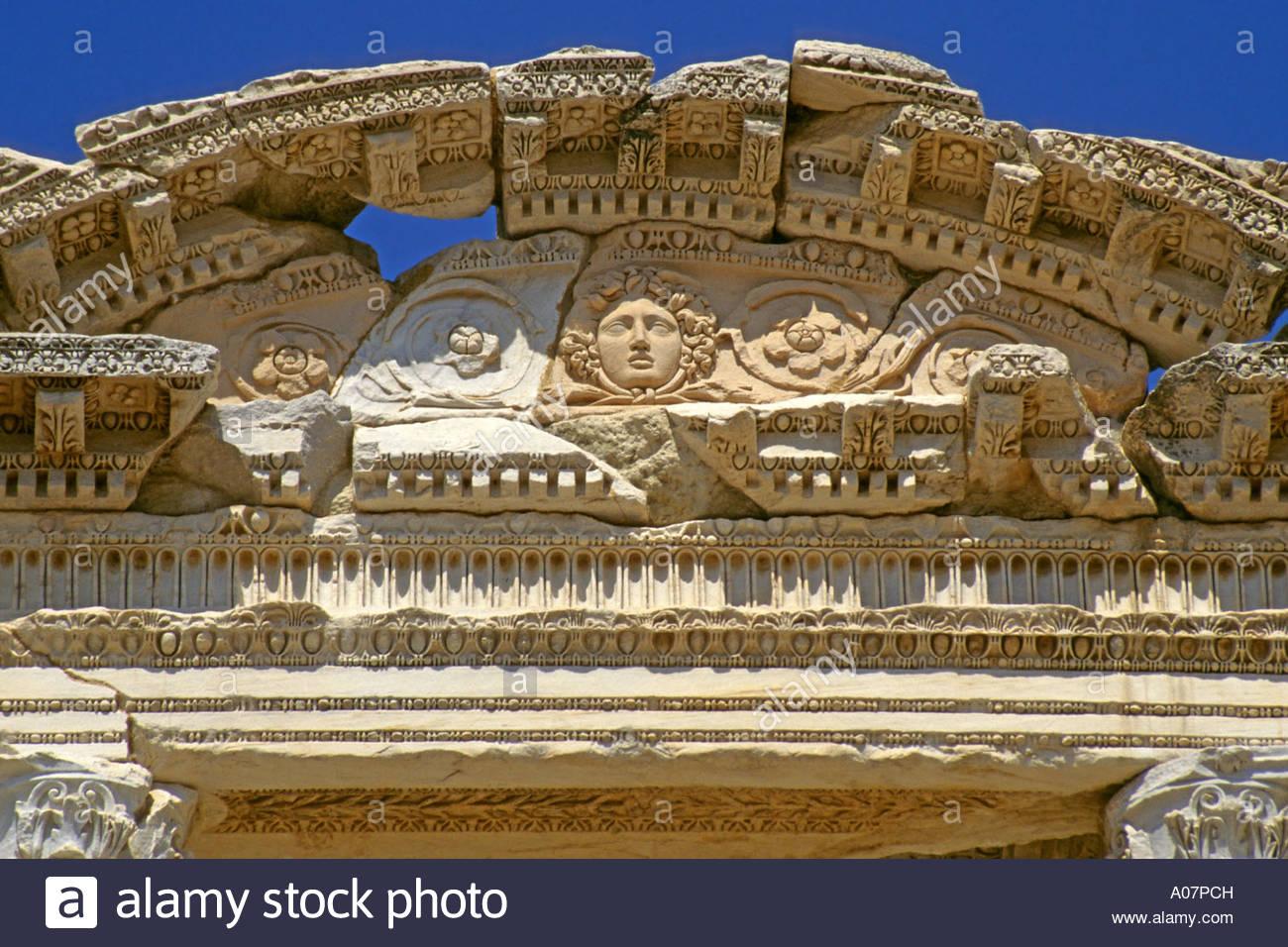 Pediment, Celsus Library, Ephesus - Stock Image