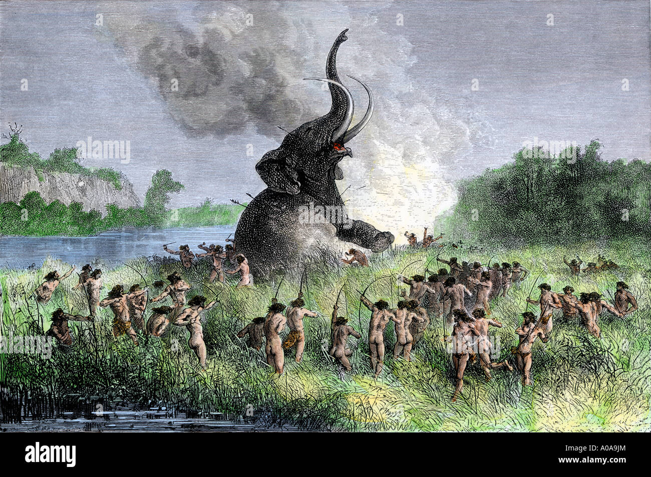 Prehistoric wooly mammoth hunters using bows and arrows Stock Photo