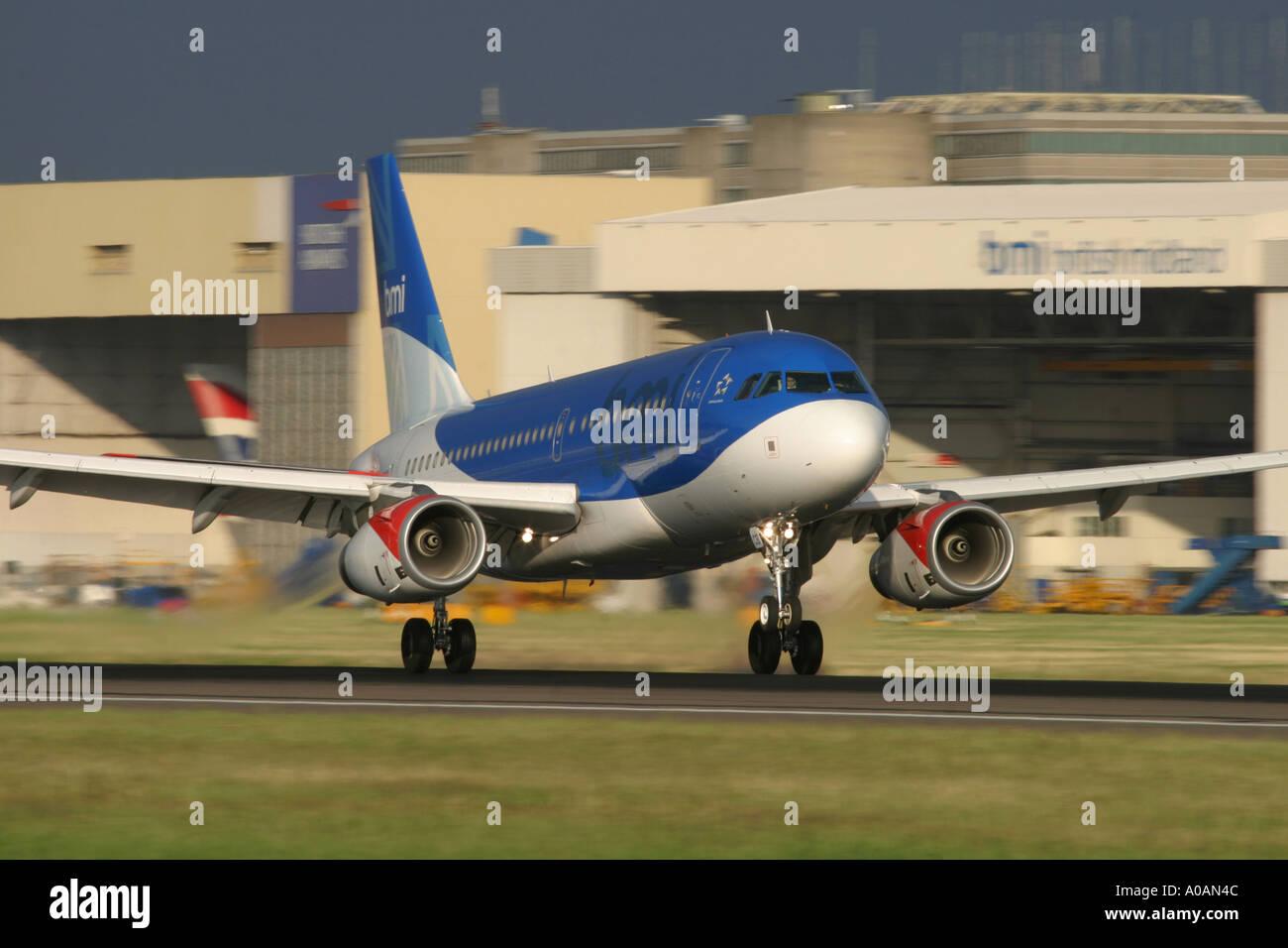 BMI British Midland Airbus A319 131 London Heathrow UK - Stock Image