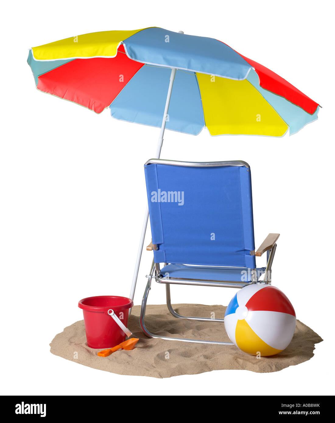Beach Chair Umbrella Beachball  sc 1 st  Alamy & Beach Chair Umbrella Beachball Stock Photo: 9940974 - Alamy