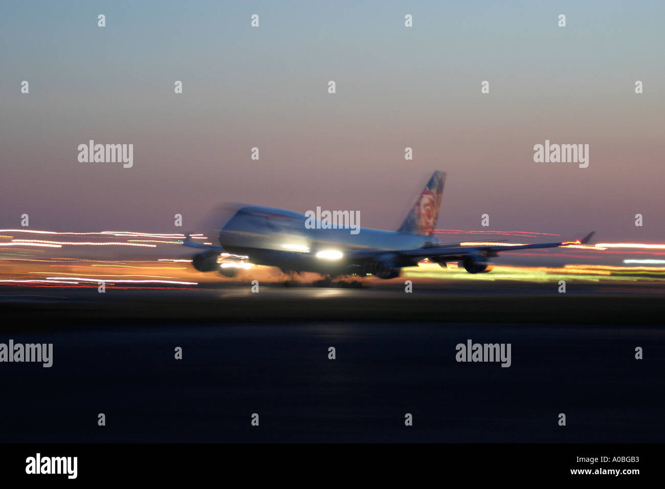 British Airways Boeing 747 taking off at London Heathrow Airport UK - Stock Image