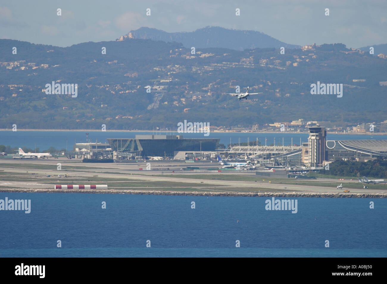 Aeroplane coming to land at Nice Airport France - Stock Image