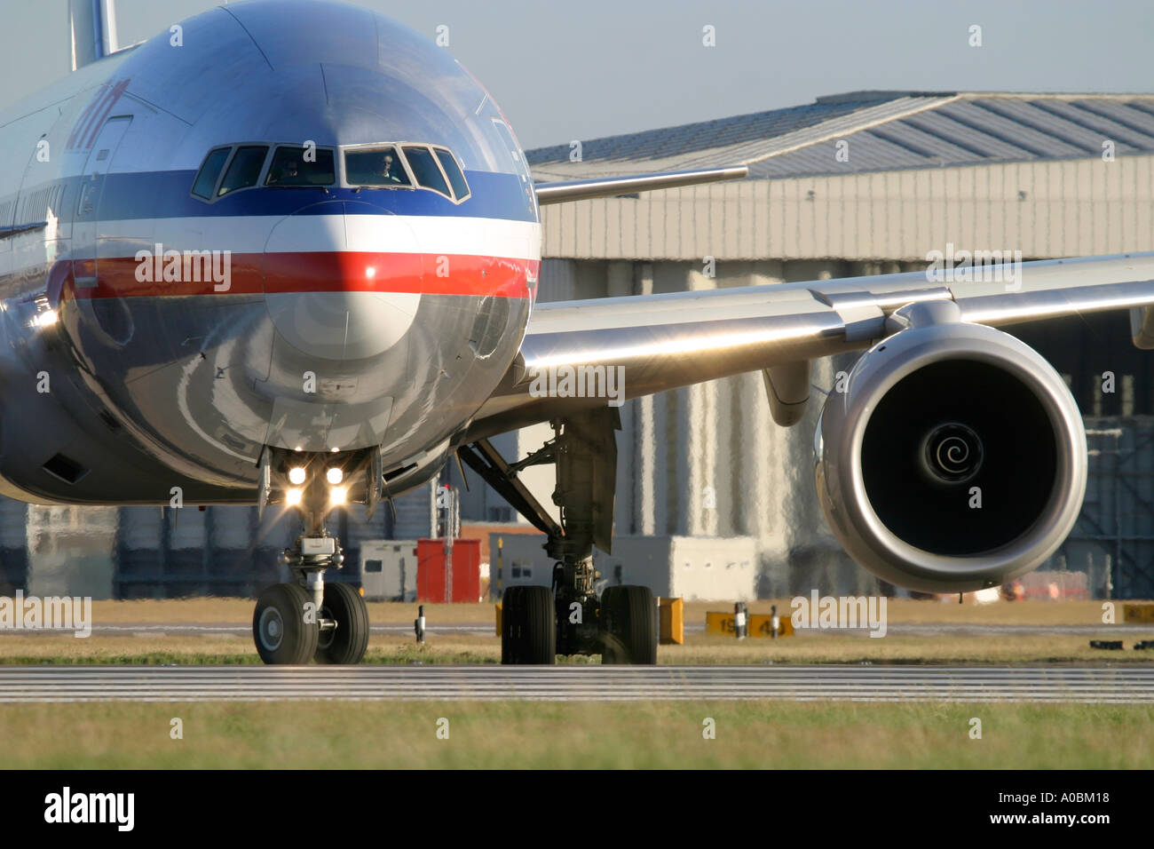 Boeing 777 American Airlines at London Heathrow Airport England UK - Stock Image