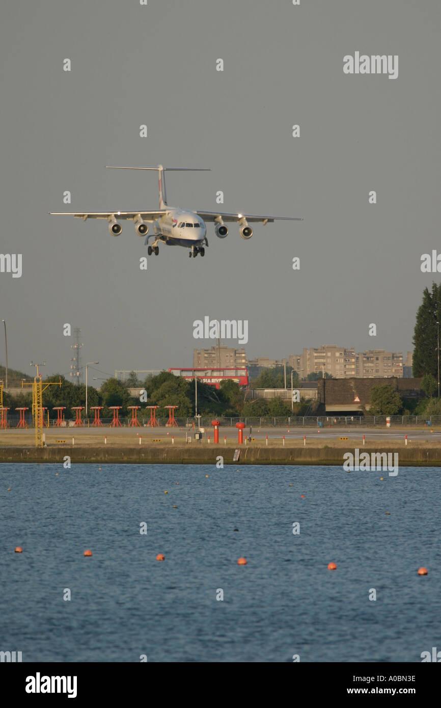 Short final of BAe 146 British Airways at London City Airport UK 2003 - Stock Image