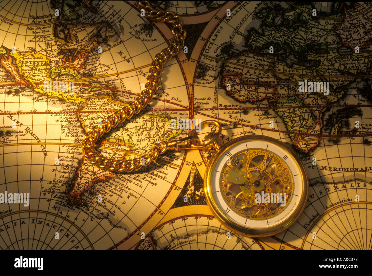 Pocket Watch On Old World Map Stock Photo Alamy - Where to buy old world maps