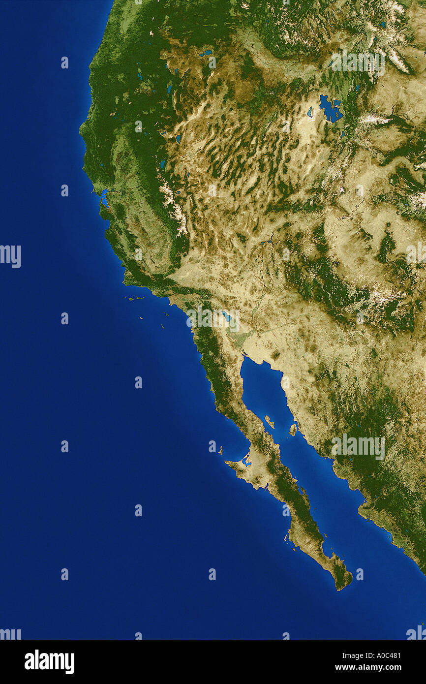 satellite image of the west coast united states from space stock