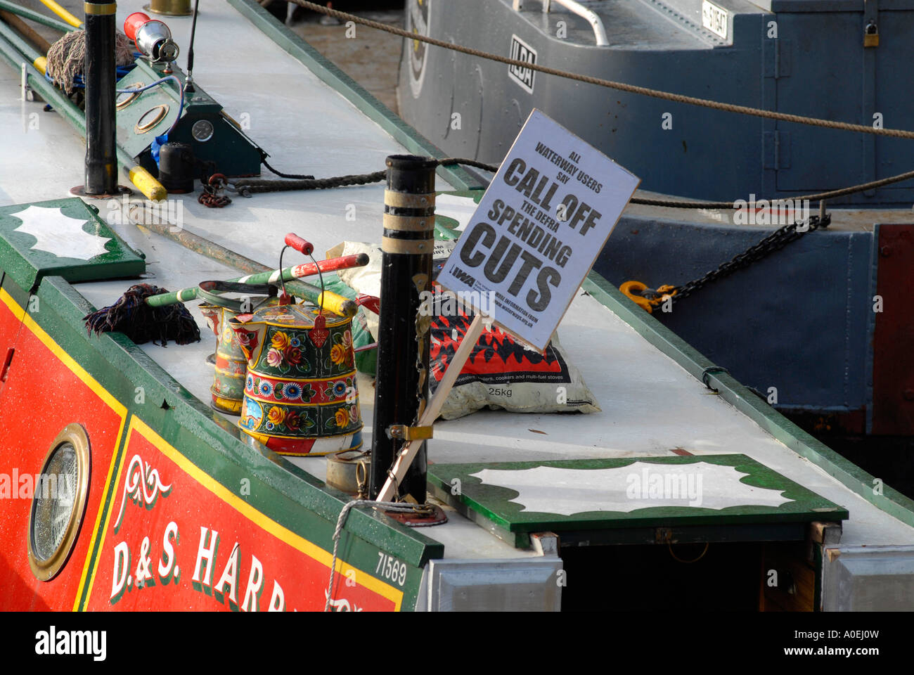 Protest against funding cuts on the waterways at Grand Union Canal Rickmansworth UK 2006 - Stock Image