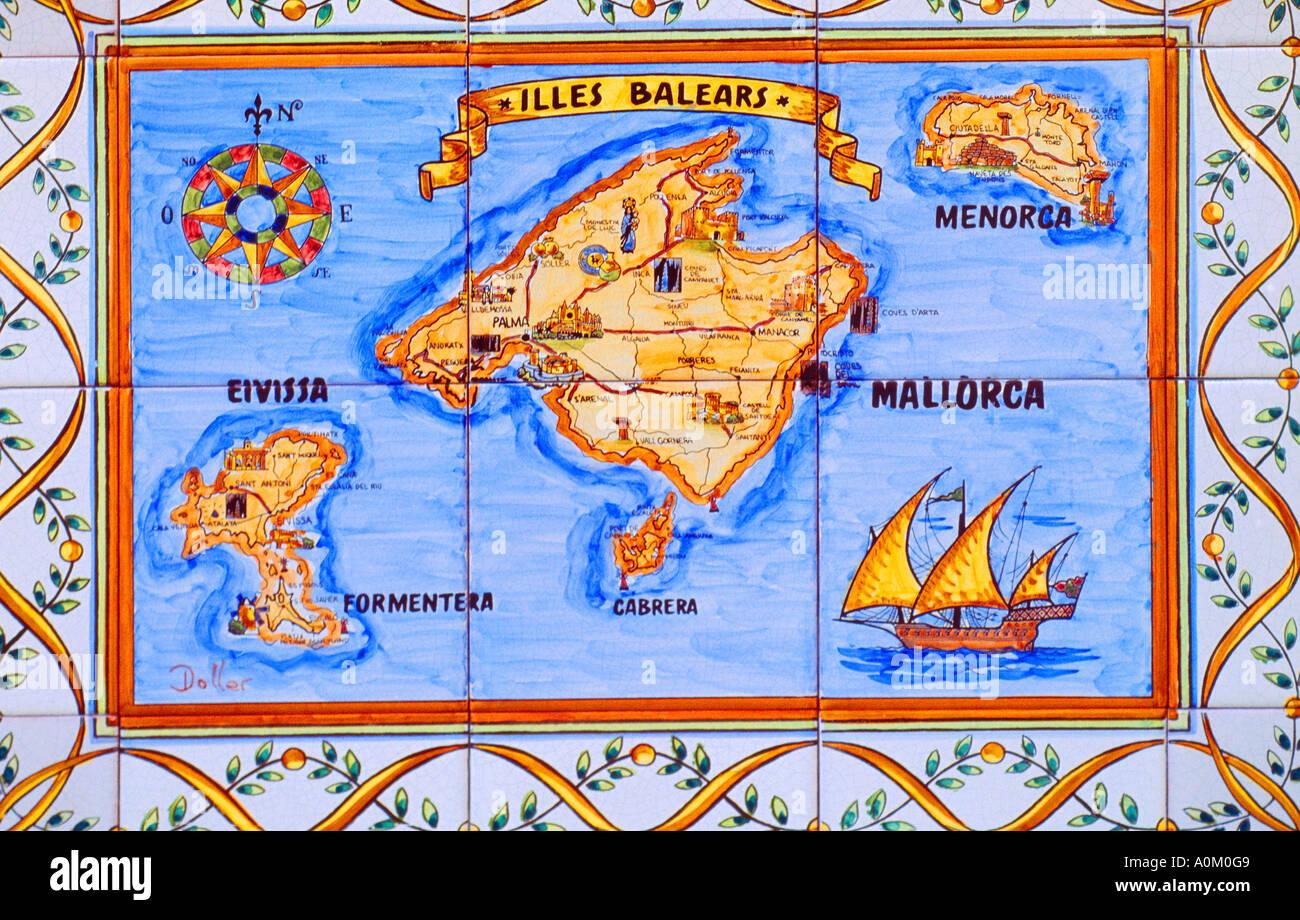 Ciutadella Menorca Spain Tiled Map of Balearic Islands Mallorca