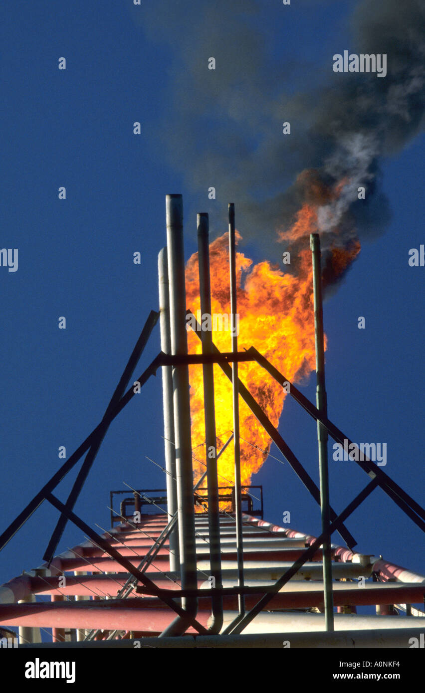 Rio de Janeiro, Brazil. Oil rig flare tower seen from below. - Stock Image