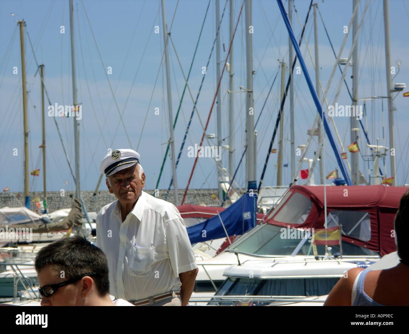An Old Sailor Puerto Deportivo de Fuengirola Fuengirola Port Costa del Sol Spain - Stock Image