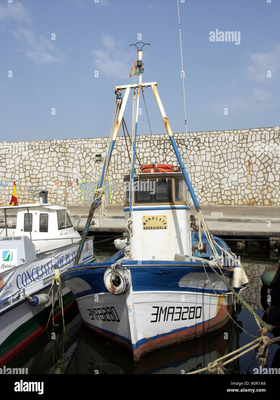 Fishing Boats, Nets and Tackle, Fuengirola Port, Costa del Sol, Andalucia, Spain - Stock Image