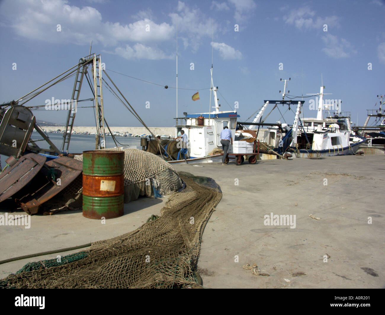 Fishing Boats, Fuengirola Port, Costa del Sol, Andalucia, Spain - Stock Image