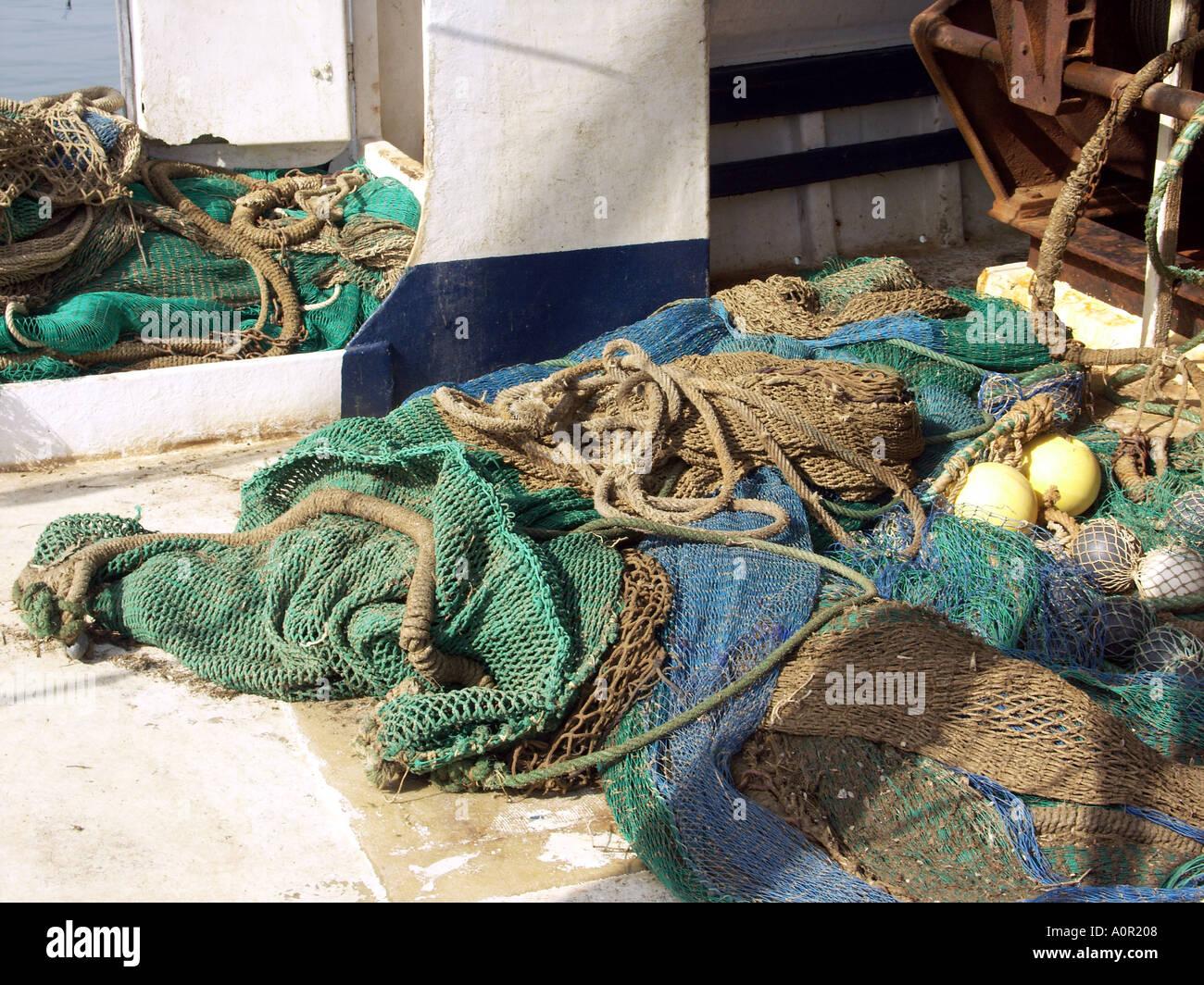 Fishing Nets and Tackle, Puerto Deportivo de Fuengirola, Fuengirola Port, Costa del Sol, Andalucia, Spain - Stock Image