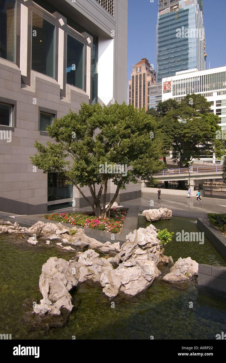 dh CENTRAL HONG KONG Fountain water garden at Bank of China building ...