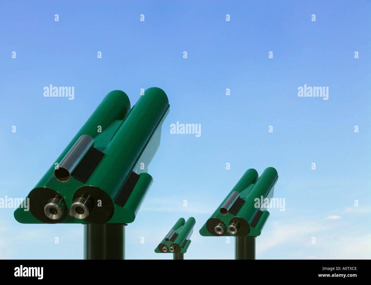 Telescopes for Cash Muenzfernrohre - Stock Image