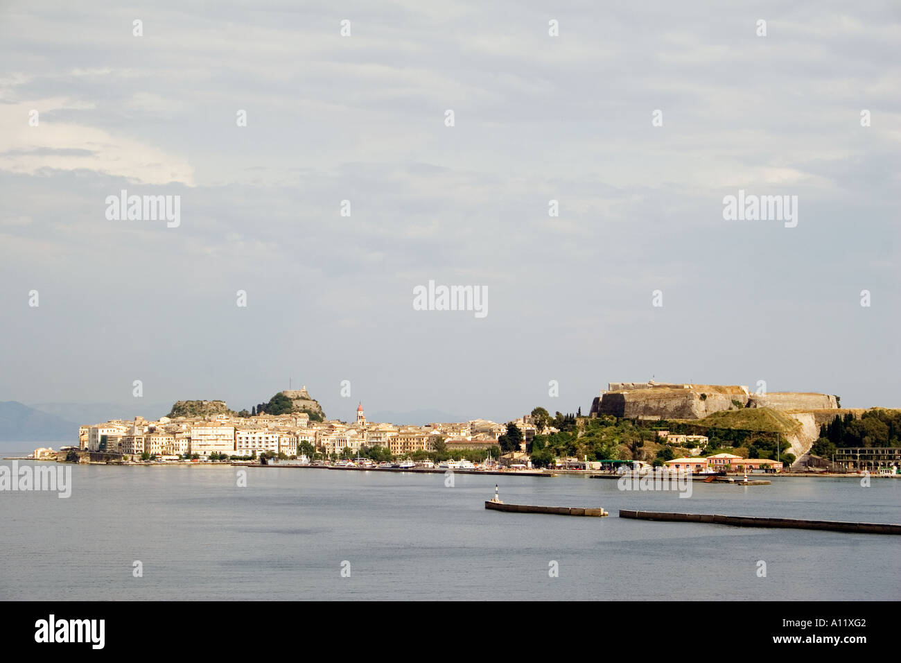 Kerkyra Old and New Forts viewed from the harbour,  Kerkyra Corfu old new fort town viewed from harbour harbor Old - Stock Image