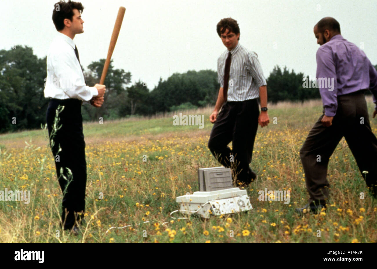 Office Space Year 1999 Director Mike Judge Ron Livingston David Herman Ajay Naidu Stock Photo