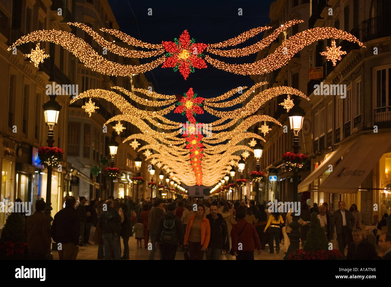 calle larios with christmas decorations malaga spain