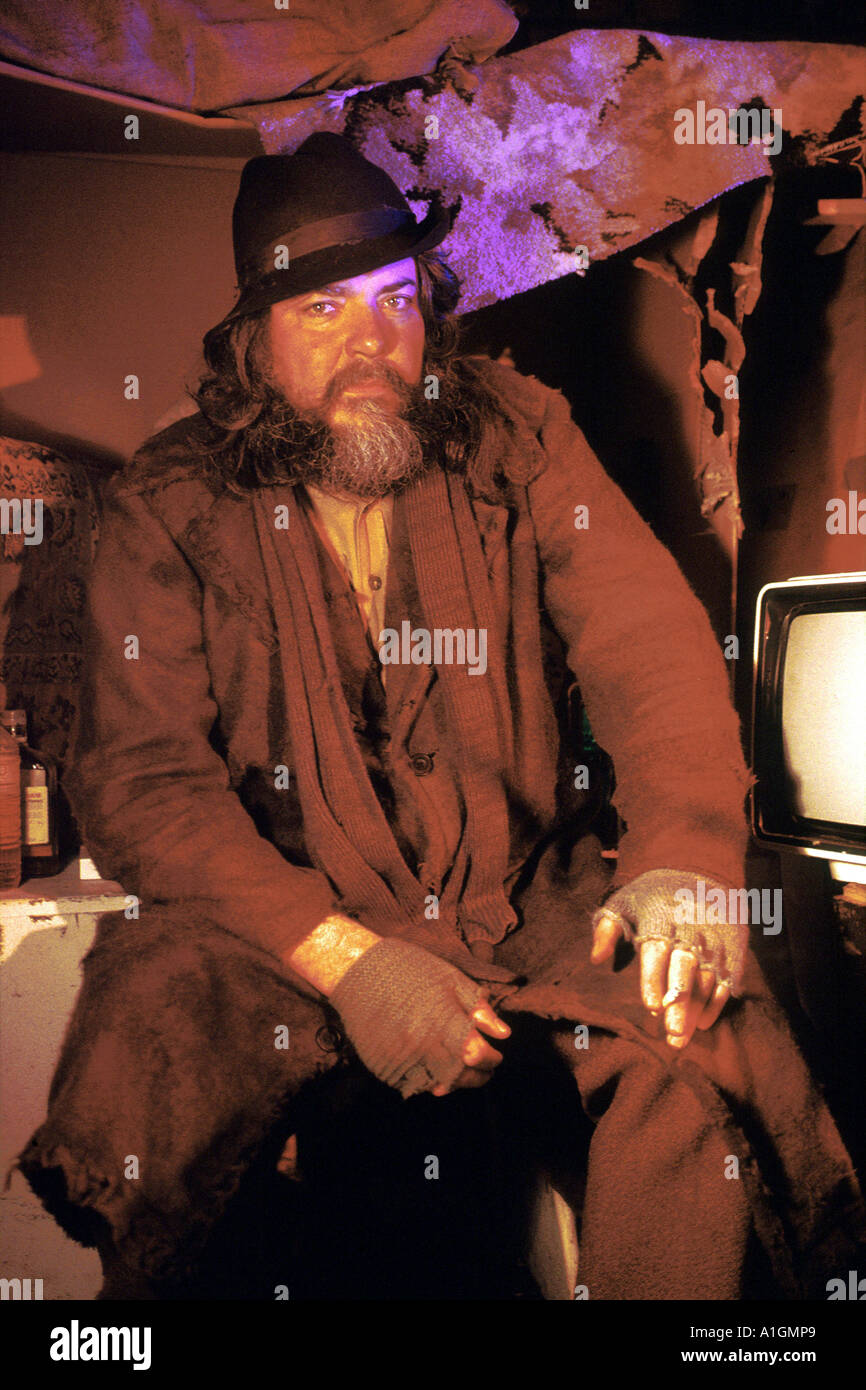 Roger Law co-founder and co-creator of Spitting Image television series playing the cameo role of a tramp PER0105 - Stock Image