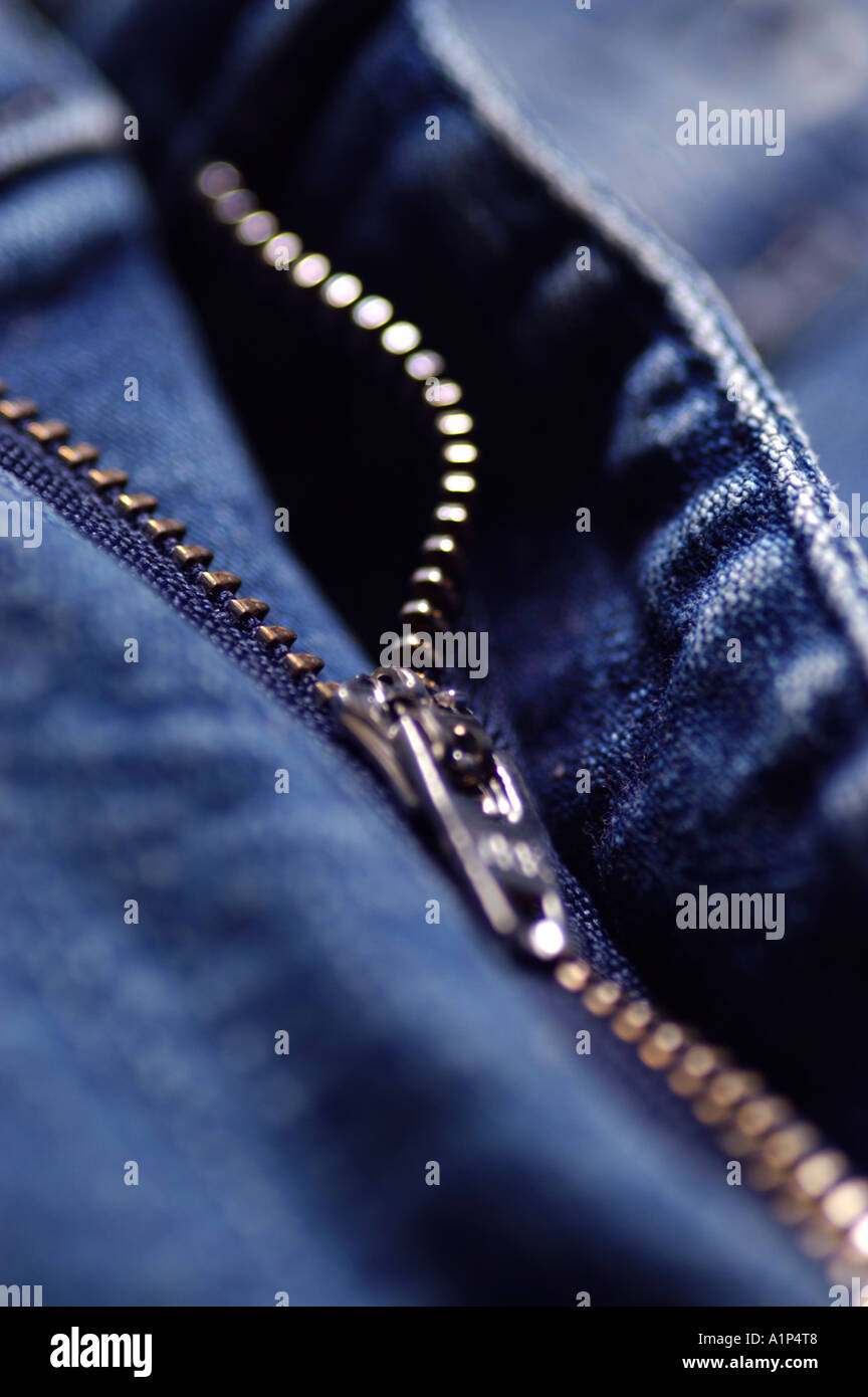 Zipper on Denim Jeans - Stock Image