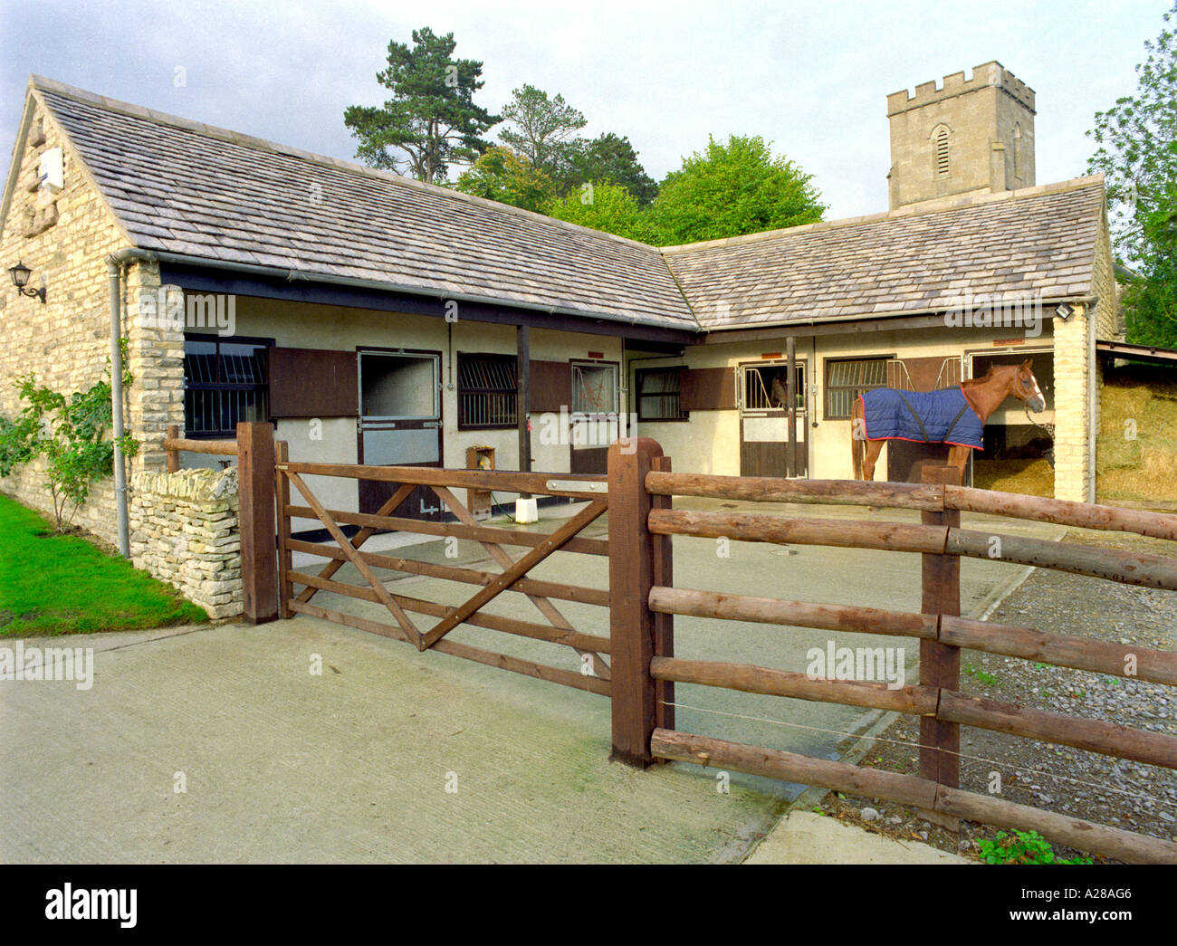 Horse stands outside small stone stable block Stock Photo