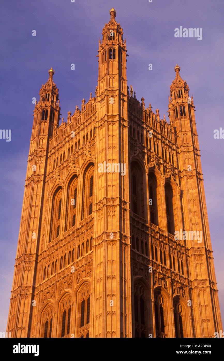Europe Great Britain United Kingdom UK London England Victoria's Tower at Dusk - Stock Image