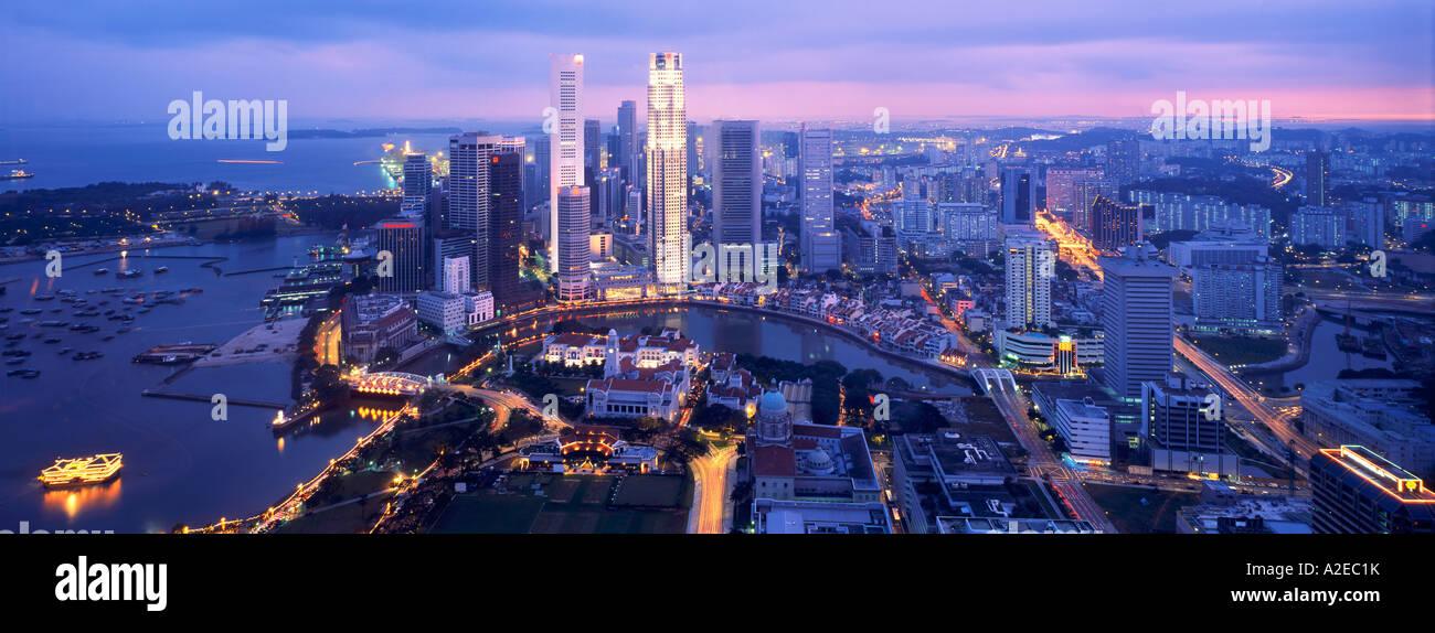 Asia Singapore , skyline panorama, Singapur - Stock Image