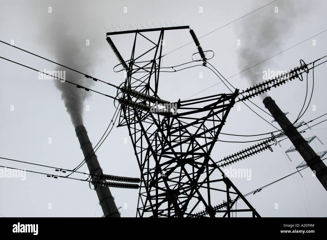 Smoke Stacks High Tension Poles Stock Photo 10498207 Alamy